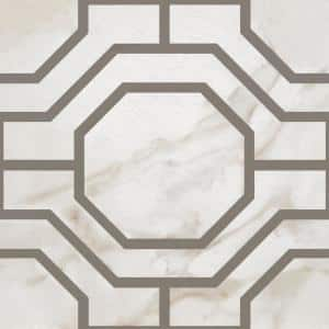 Retro 12 in. W x 12 in. L Octagon Charcoal Marble Water Resistant Peel and Stick Vinyl Tile Flooring (20 sq. ft./case)