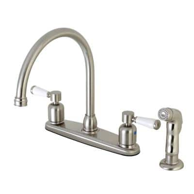 Paris 2-Handle Standard Kitchen Faucet with Side Sprayer in Brushed Nickel