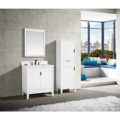 Emma 31 in. W x 22 in. D Bath Vanity in White with Engineered Stone Vanity Top in Cala White with White Basin