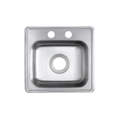 22 Gauge Stainless Steel 15 in. 2-Hole Drop-in Bar Sink
