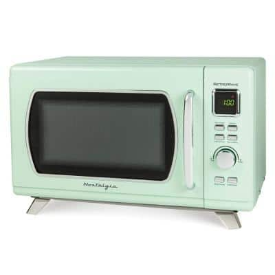 0.9 cu. ft. Countertop Microwave in Seafoam Green with 8 Settings