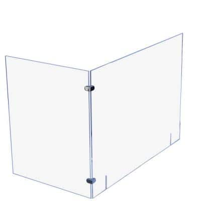 Sneeze Guard L-Shape 36 in. W x 36 in. L x 0.25 in. T Clear Acrylic Protection Shield Freeing with No Pass Through