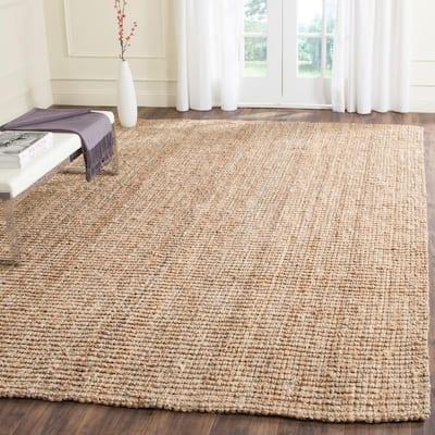 Natural Fiber Beige 9 ft. x 12 ft. Solid Area Rug
