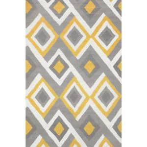 Anya Contemporary Geometric Yellow 8 ft. x 10 ft. Area Rug