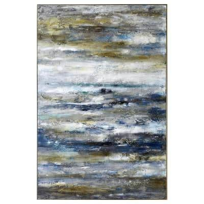 """60 in. x 40 in. """"Dorato"""" Hand Painted Framed Canvas Wall Art"""