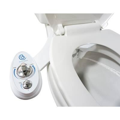Non-Electric Luxury Toilet Bidet Attachment Water Sprayer Dual Nozzle White and Blue
