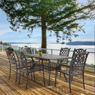 Classic Dark Brown 7-Piece Cast Aluminum Rectangle Outdoor Dining Set with Table and Stacking Dining Chairs