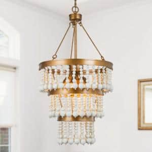 Anmie Modern Farmhouse Gold Chandelier 6-light Boho Island Dining Room Candlestick Chandelier with White Wood Beads