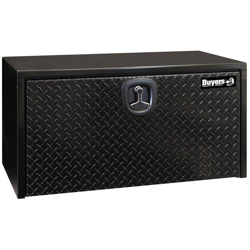 18 in. x 18 in. x 48 in. Gloss Black Steel Underbody Truck Tool Box with Aluminum Door