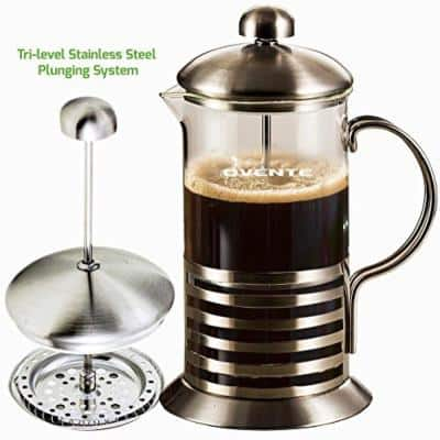8-Cup Nickel Brushed French Press, Coffee and Tea Maker High-Grade Stainless Steel and Free Measuring Scoop