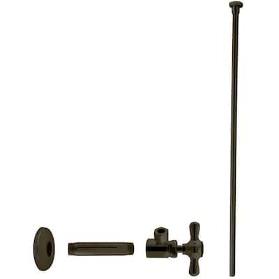 1/2 in. IPS x 3/8 in. O.D. x 20 in. Flat Head Toilet Kit with Cross Handles, Oil Rubbed Bronze