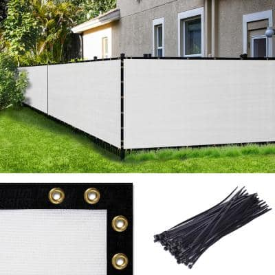 6 ft. H x 50 ft. W White Fence Outdoor Privacy Screen with Black Edge Bindings and Grommets