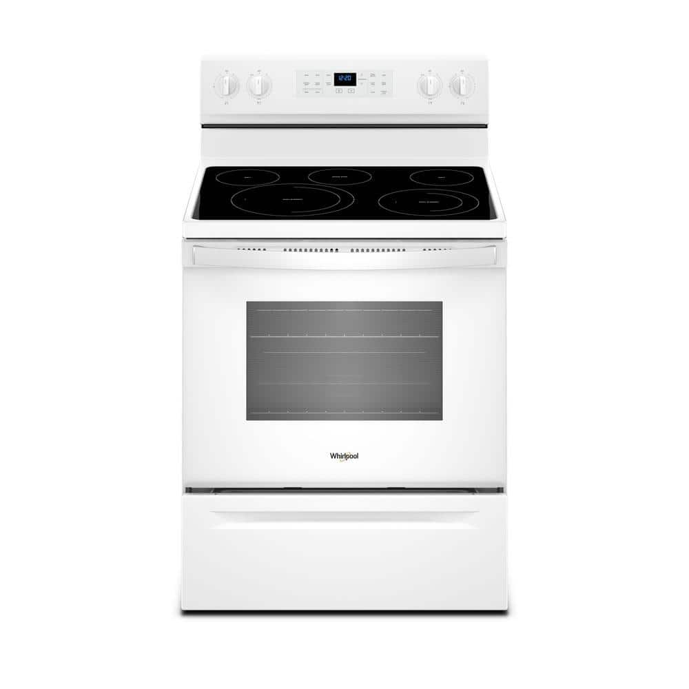 Whirlpool 5 3 Cu Ft Electric Range With Self Cleaning Convection Oven In White Wfe550s0hw The Home Depot
