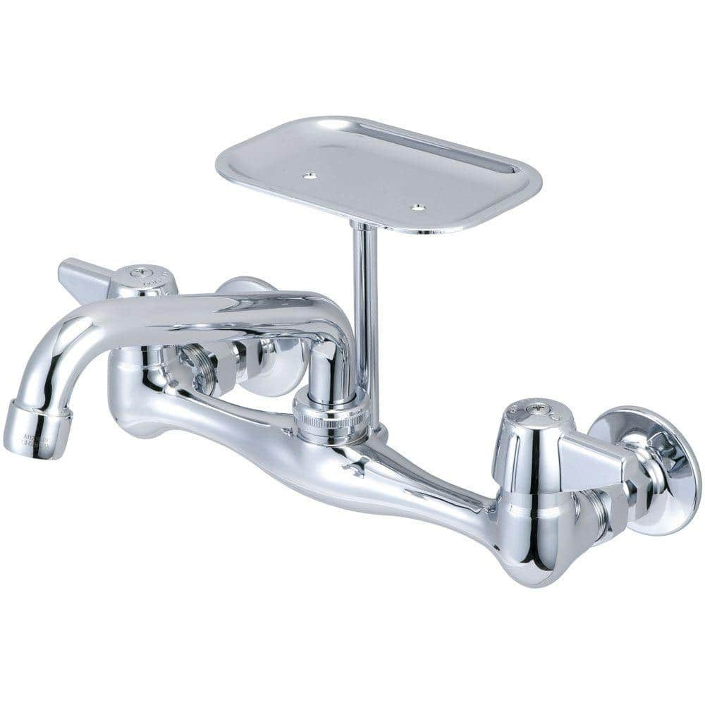 Central Brass Wall Mount 2 Handle Standard Kitchen Faucet In Chrome 0048 Ua The Home Depot