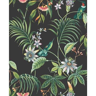 Adilah Tropical Floral Yellow Wallpaper Sample