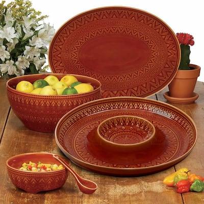15.75 in. Multi-Colored Stoneware Aztec Rust Oval Platter