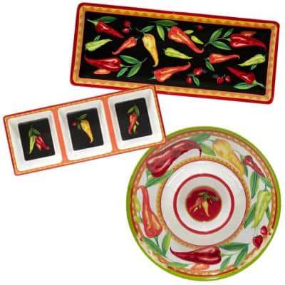 Red Hot 3-Piece Multicolored Melamine 19 in. Platter, 14.5 in. 3-Section Relish Tray, 14.5 Chip and Dip Hostess Set