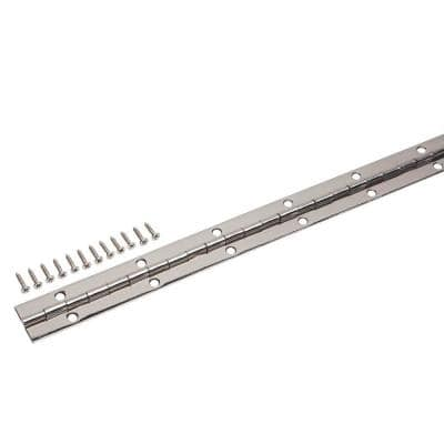 1-1/16 in. x 48 in. Bright Nickel Continuous Hinge