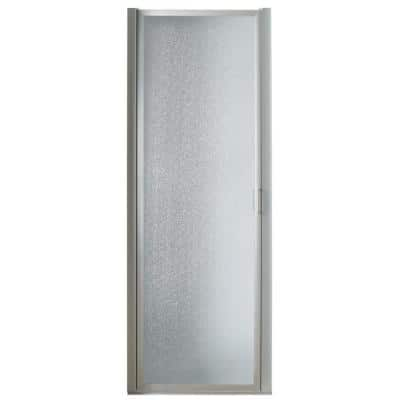 34 in. x 63-3/4 in. Framed Pivot Shower Door in Chrome with Rain Glass