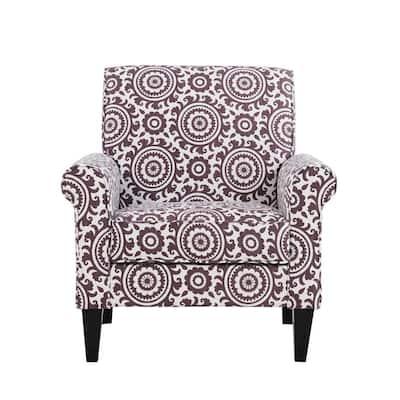 Jean Amethyst Purple and Cream Medallion Arm Chair