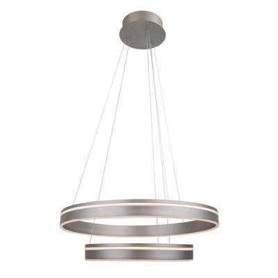 Voyager 2-Light 490-Watt Equivalent Integrated LED Satin Nickel Pendant with Acrylic Shade
