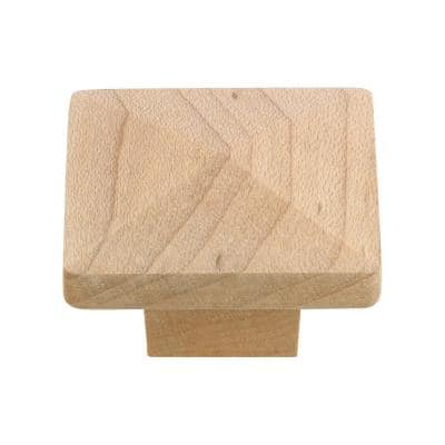 1-1/4 in. x 1-1/4 in. (32 mm x 32 mm) Unfinished Maple Eclectic Wood, Maple Cabinet Knob