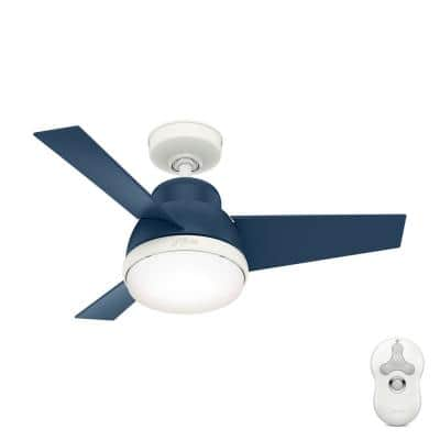 Valda 36 in. LED Indoor Indigo Blue Ceiling Fan with Light Kit and Remote