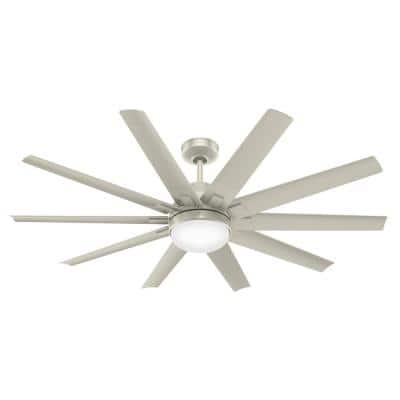 Overton 60 in. LED Indoor/Outdoor Matte Nickel Ceiling Fan with Light Kit and Wall Control