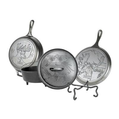 Wildlife Series 5-Piece Cast Iron Cookware Set in Black