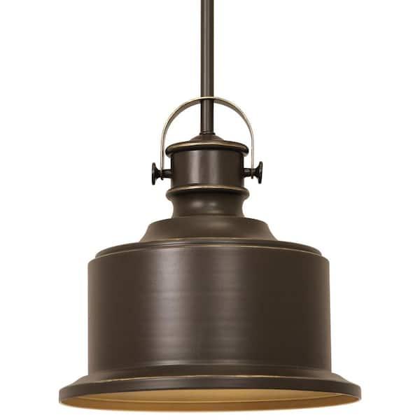 Progress Lighting Callahan Collection 1 Light Antique Bronze Kitchen Island Pendant With Metal Shade P500057 020di The Home Depot