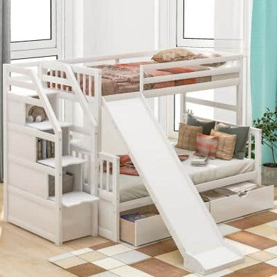 White Twin Over Full Bunk Bed with Drawers and Slide