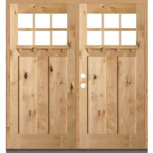 72 in. x 80 in. Craftsman Knotty Alder 6-Lite Clear Unfinished Wood/Dentil Shelf Right Active Double Prehung Front Door