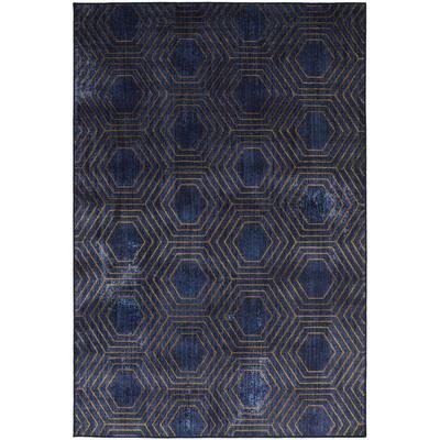 Hexagon Lines Indigo 5 ft. 3 in. x 7 ft. 10 in. Geometric Area Rug