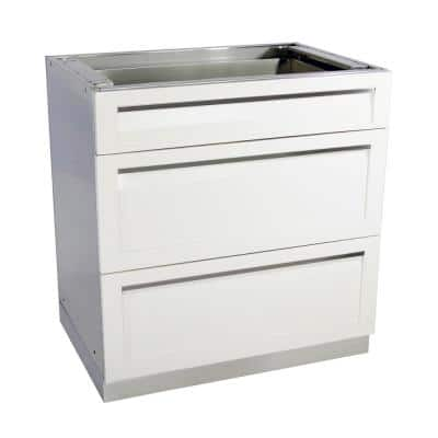 Stainless Steel 3 Drawer 32x35x22.5 in. Outdoor Kitchen Cabinet Base with Powder Coated Drawers in White