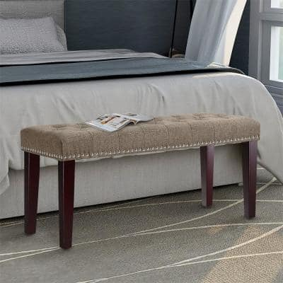 38 in. W x 14 in. D x 17.3 in. HTan Fabric Upholstered Bench with Nailhead Trim and Solid Wood Legs