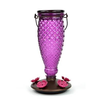Diamond Wine Top-Fill Decorative Glass Hummingbird Feeder - 24 oz. Capacity