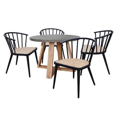 Maria 5-Piece Concrete Round Outdoor Dining Set