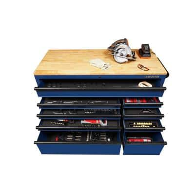 56 in. 9-Drawer Mobile Workbench in Matte Blue