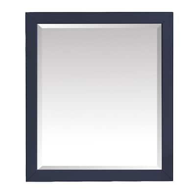 Windlowe 28 in. W x 32 in. H Framed Rectangular Beveled Edge Bathroom Vanity Mirror in Navy Blue