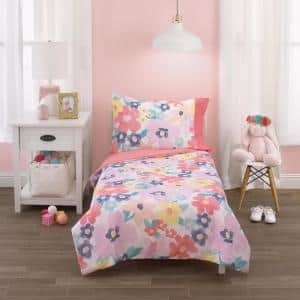 Multicolor Floral 4-Piece Toddler Bed Set - Comforter, Fitted Bottom Sheet, Flat Top Sheet and Reversible Pillowcase