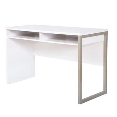 47.5 in. Rectangular White/Gray Writing Desks with Open Storage