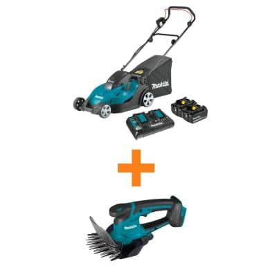 18V X2 (36V) LXT Lithium-Ion Cordless 17 in. Walk Behind Lawn Mower Kit (5.0Ah) with bonus 18V LXT Cordless Grass Shear