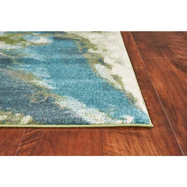 Kas Rugs Watercolors Teal 6 Ft X 9 Ft Abstract Area Rug Wat623467x96 The Home Depot