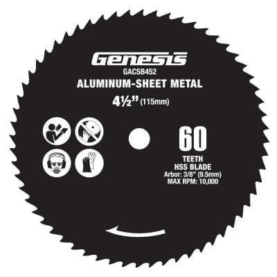 4 1/2 in. 60-Teeth High Speed Steel Circular Saw Blade for Aluminum and Sheet Metal