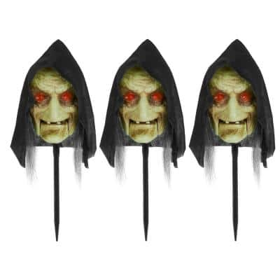 16 in. Animated LED Witch Halloween Pathway Markers (3-Pack)