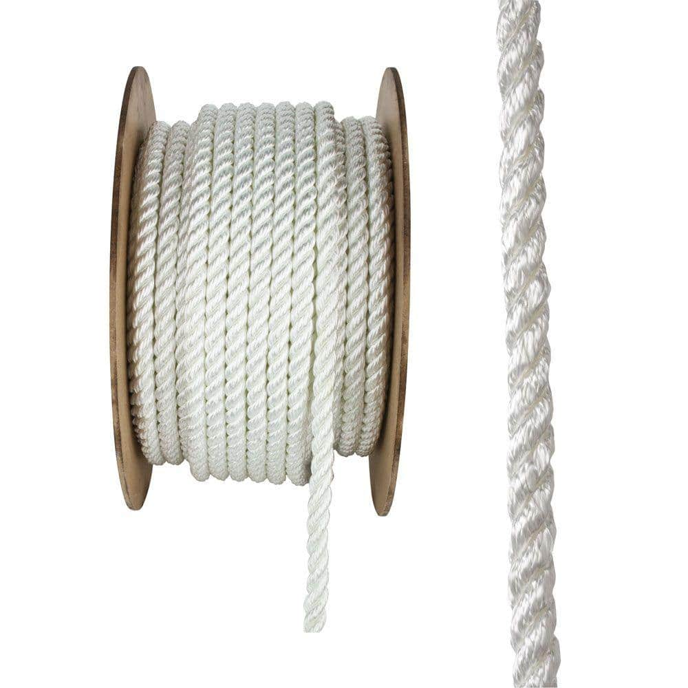 Everbilt 3/4 in. x 150 ft. White Twisted Nylon and Polyester Rope