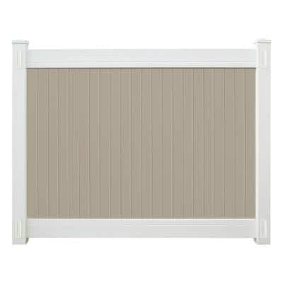 Wexford 6 ft. x 8 ft. Tan and White Vinyl Fence Panel