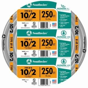 250 ft. 10/2 Gray Solid CU UF-B W/G Wire