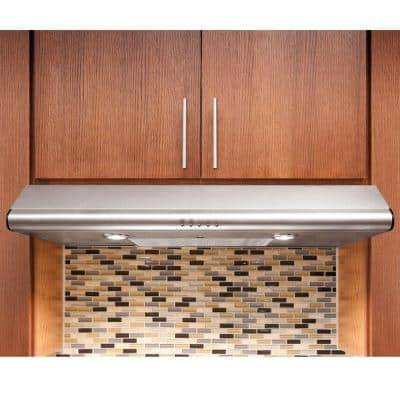 36 in. Under Cabinet Convertible Range Hood with Push Buttons in Stainless Steel