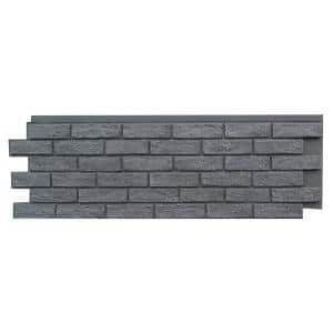 Brick Antique Gray 15.25 in. x 43.5 in. Polyurethane Faux Stone Siding Panel (4-Pack)